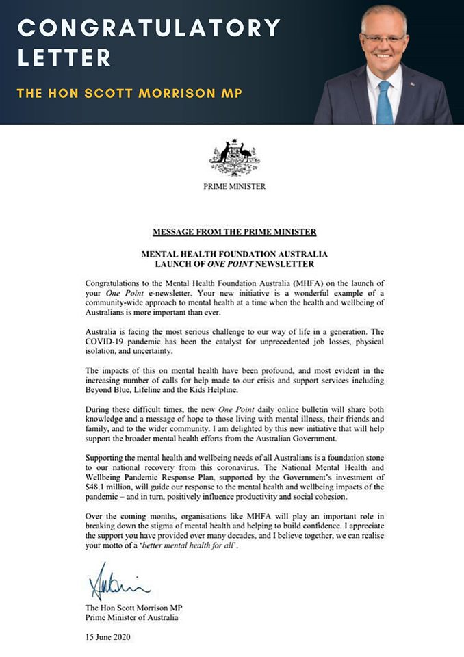 message from Prime Minister on Mental Health Foundation Australia
